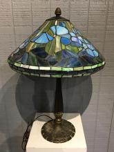 Leaded Glass Lamp With Miller Base