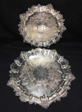 Pair Of England Silver Plate Trays