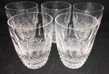 Set Of 5 Waterford Cut Crystal Cups