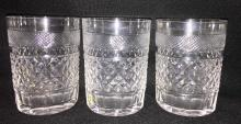 Set Of 3 Kosta Cut Crystal Cups