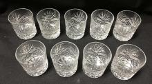 Set Of 9 Cut Crystal Tumblers