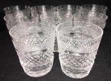 Set Of 9 Kosta Cut Crystal Glasses