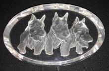 Glass Dog Plaque