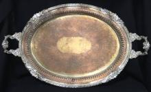 Large Silver Plate Double Handled Platter