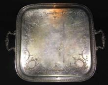 Silver Plate Footed Tray