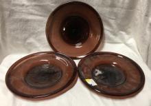 3 Blown Glass Plates