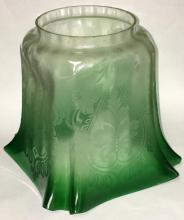 Green & Clear Incised Glass Lamp Shade