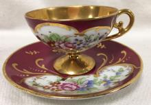 Limoges France Hand Painted Porcelain Cup & Saucer