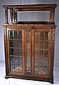 French marble top bookcase with leaded glass doors