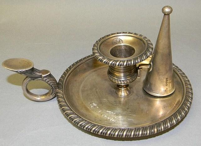 English silver candle holder with snuffer