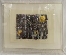Painted Art Collage In Lucite Case
