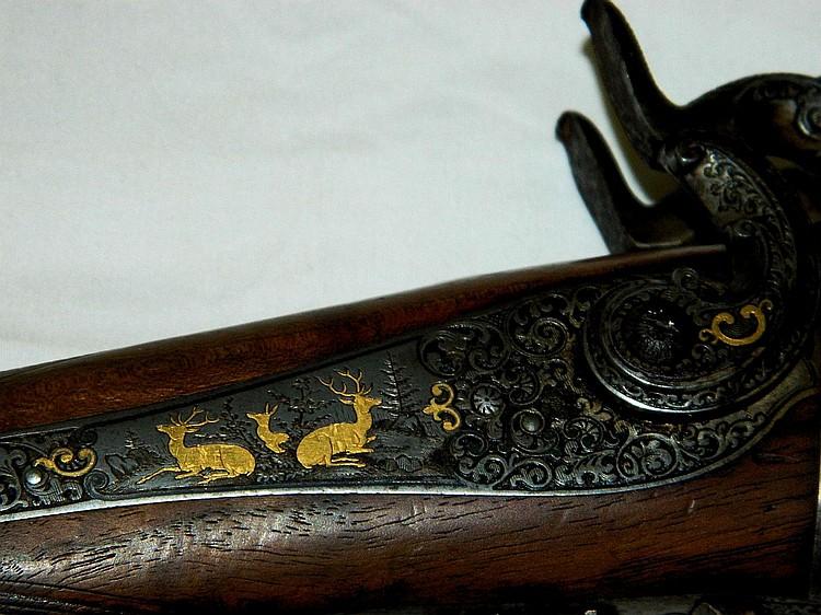 Antique Christoph Funk double barrel cape gun