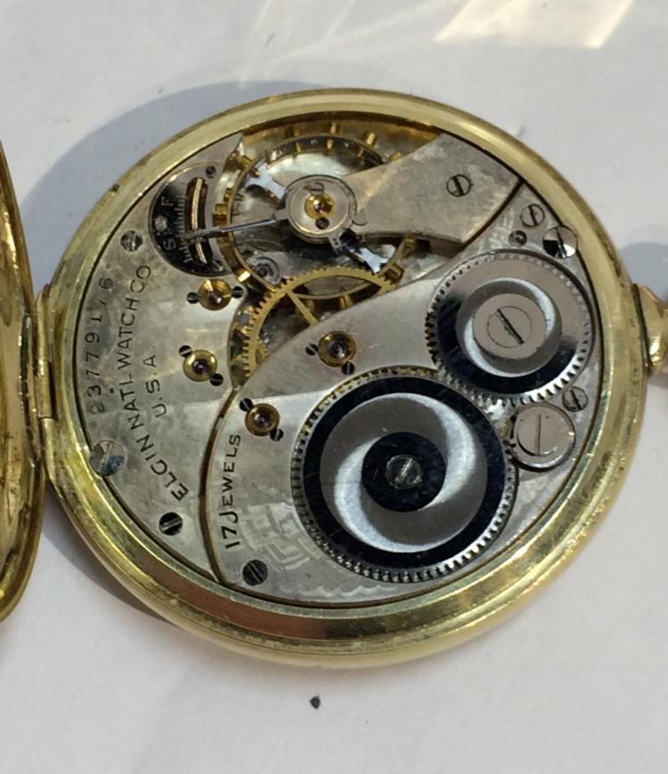14k gold filled elgin 17 jewels pocket