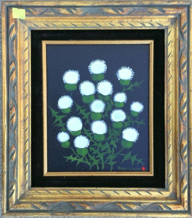 Rose Labrie Oil On Canvas, Scottish Thistle
