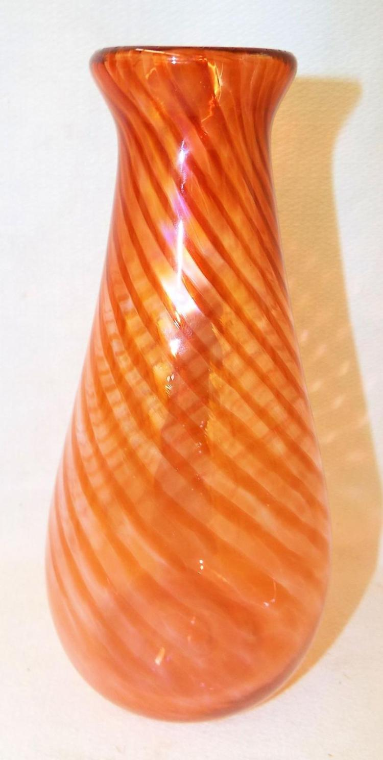 Swirl Design Art Glass Vase