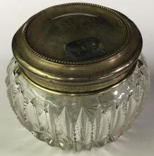 Cut Glass Jar With Sterling Silver Lid