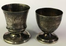 Two Silver Plate Footed Cups