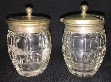 Two Cut Glass Jars With Silver Plate Lids