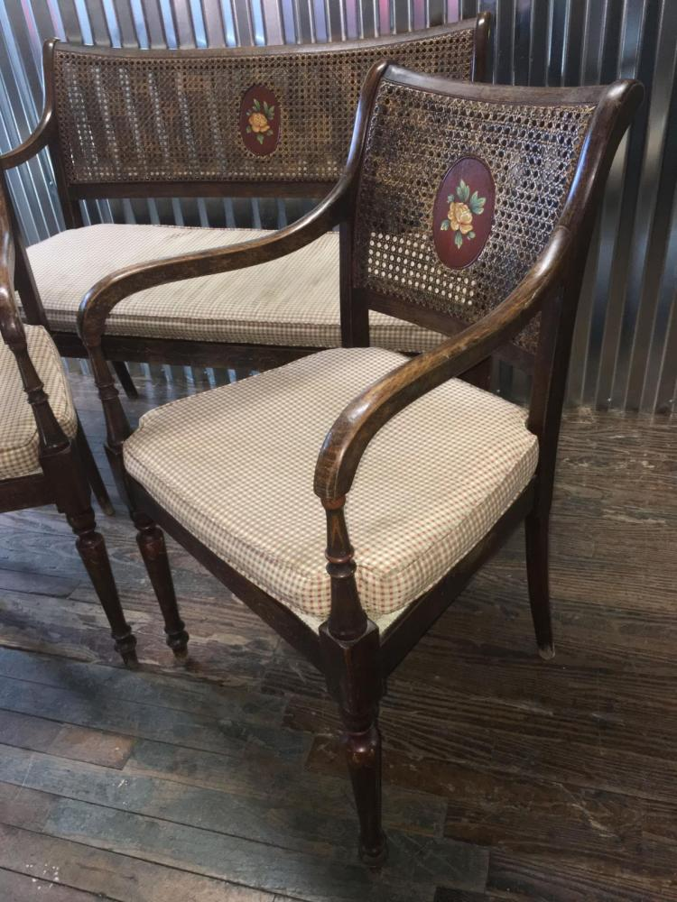 Cane back settee and matching arm chairs for Matching arm chairs