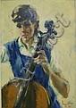 Noel Daggett oil on canvas, playing cello, Noel J Daggett, Click for value