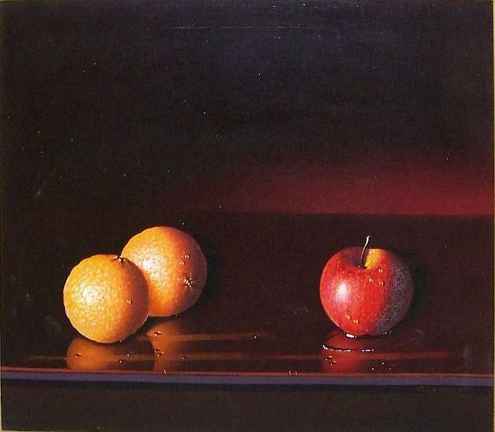Luciano Guarnieri o/c still life, oranges  &  apples