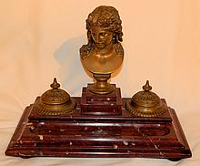 19th Century Figural Bronze and Marble Inkwell