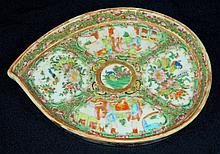 Rose Medallion Leaf Shaped Dish