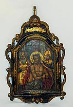 19th Century Carved and Painted Icon