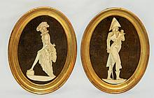 Pair of Plaques with Ivory Figures