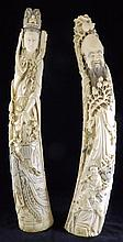 Pair of Signed Monumental Ivory Carved Tusks