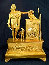 19th Century French Dore Bronze Mantle Clock