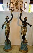 Pair of Monumental Blackamoors on Bases