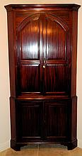 George III Figured Mahogany Corner Cupboard