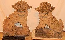A Pair of Cast Stone Foo Lions