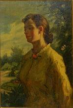 Oil on Board Portrait of Woman in Ornate Frame