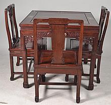 Rosewood Table and Chairs w Mother of Pearl Inlay