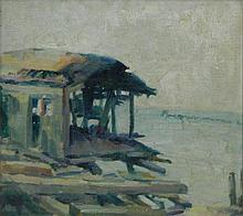 Oil on canvas, boat dock scene