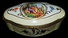 Handpainted Dresser Box with Figural Scene