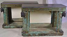 Pair of Bronze Figural Marble Top Hall Tables