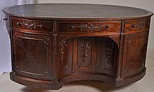 Ornately Carved Leather Top Partner's Desk