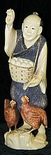Oriental polychrome decorated ivory carving