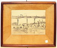Harry Shoulberg, 1930's City Skyline Drawing