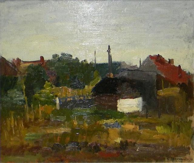 G. Ionescu oil on board, Hungarian landscape