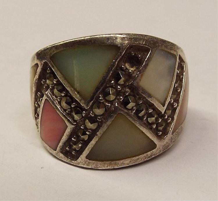 Sterling Silver Ring With Mother Of Pearl Inlay