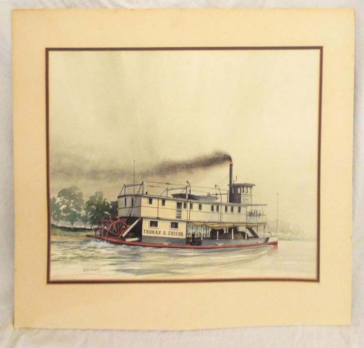 Bob Holland Watercolor Steamboat Thomas A Edison