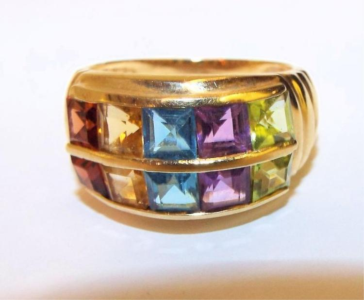 14k gold ring with multi colored gemstones