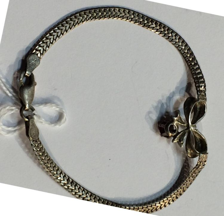Silver Red Granite : Italy sterling silver bracelet red stone pendant