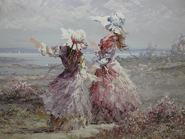 Marie Charlot Oil On Canvas Ladies At Beach