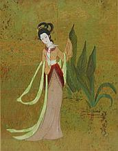 Oriental Painting of Lady on Cork