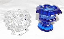 Blue and Clear Glass Footed Bowls